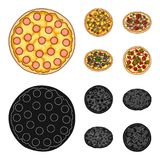 Pizza with meat, cheese and other filling. Different pizza set collection icons in cartoon,black style vector symbol. Stock illustration Stock Images