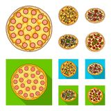 Pizza with meat, cheese and other filling. Different pizza set collection icons in cartoon,flat style vector symbol Royalty Free Stock Image