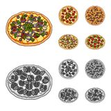 Pizza with meat, cheese and other filling. Different pizza set collection icons in cartoon,monochrome style vector. Symbol stock illustration Stock Photography