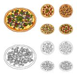 Pizza with meat, cheese and other filling. Different pizza set collection icons in cartoon,outline style vector symbol Stock Image