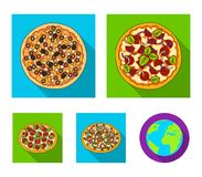 Pizza with meat, cheese and other filling. Different pizza set collection icons in flat style vector symbol stock. Illustration Stock Photo
