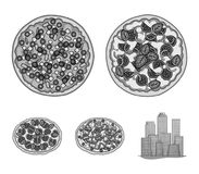 Pizza with meat, cheese and other filling. Different pizza set collection icons in monochrome style vector symbol stock. Illustration Stock Images