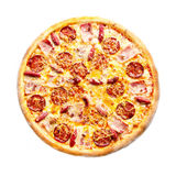 Pizza meat feast top view. Pizza meat feast on top of a white background Royalty Free Stock Images