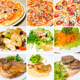Pizza, meat, salad and other food Royalty Free Stock Photos