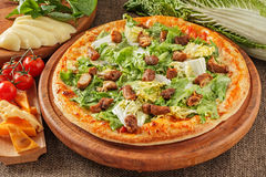 Pizza with meat and salad Royalty Free Stock Photo