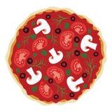 Pizza med champinjoner och tomater Arkivbild