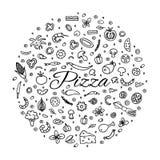 Pizza med en uppsättning av ingredienser Royaltyfri Fotografi