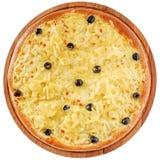 Pizza med höna och ananas Arkivbild