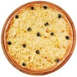 Pizza med höna och gräddost Arkivfoto