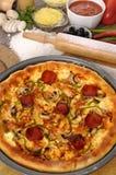 Pizza med ingredienser Fotografering för Bildbyråer