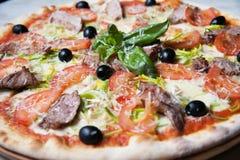 Pizza med kött royaltyfria foton