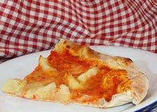 Pizza med mozzarella- och tomat- och stekpotatisar på italienare r Arkivfoto