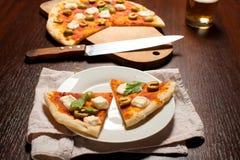 Pizza med mozzarellaen Royaltyfria Bilder