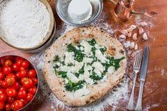 Pizza med mozzarellaost, ricotta och spenat med nytt till Arkivbild