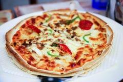Pizza med olivgrön isolerad champinjonost för ny tomat Arkivbild