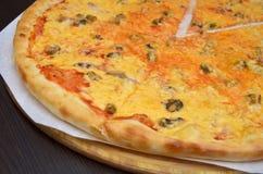 Pizza med ost, havscoctail på en vit platta på en mörk trätabell, ett stycke klippte av fotografering för bildbyråer
