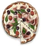 Pizza med ost, kött, oliv, tomater och körsbärsröda tomater royaltyfri illustrationer