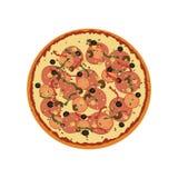 Pizza med peperoniskivor också vektor för coreldrawillustration Arkivfoto