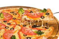Pizza med salami och champinjonmozzarellaen Fotografering för Bildbyråer