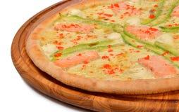 Pizza med skaldjur Fotografering för Bildbyråer