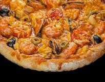 Pizza med skaldjur Arkivfoto