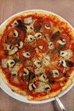 Pizza med tomaten och champinjoner royaltyfria bilder