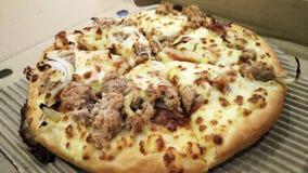 Pizza med tonfiskfisken Royaltyfria Bilder