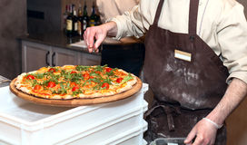 Pizza meister. Make tasty pizza in the cafe Stock Images