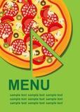 Pizza-Menü-Schablone Stockfotos