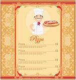 Pizza-Menü-Schablone Lizenzfreie Stockfotografie