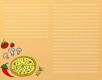 Pizza menu. Or recipe template stock illustration