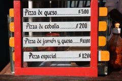 Pizza menu. Cuba - generic outdoor bar menu with typical street cuisine in Trinidad Stock Image