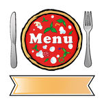 Pizza menu. With banner and fork and knife Stock Photos