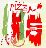 Pizza menu,. Artificial, grungy style, paint stroke and marks of a wine glass Royalty Free Stock Images