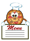 Pizza with menu. Royalty Free Stock Photo