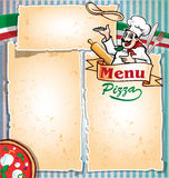 Pizza menu with chef. And pizza Royalty Free Stock Photo