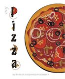 Pizza menu cover - vector drawing Royalty Free Stock Photos