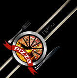 Pizza Menu Design. With metallic round pizza symbol with red ribbon on black background with a diagonal band Stock Photography