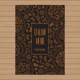 Pizza menu design. A4 size layout template. Cover restaurant bro. Chure with modern line graphic. Vector illustration Stock Illustration
