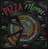 Pizza menu drawing with color chalk. Stock Photos
