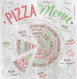 Pizza menu drawing with color chalk on wood board. Pizza menu the names of dishes of Pizza, Hawaiian, cheese, chicken, pepperoni and other ingredients tomato Royalty Free Stock Images