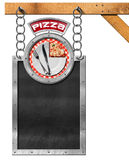 Pizza Menu - Empty Blackboard with Chain Royalty Free Stock Photography