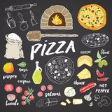 Pizza menu hand drawn sketch set. Pizza preparation design template with cheese, olives, salami, mushrooms, tomatoes, flour and ot. Her ingredients. vector Stock Illustration