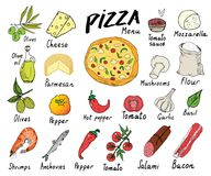 Pizza menu hand drawn sketch set. Pizza preparation design template with cheese, olives, salami, mushrooms, tomatoes, flour and ot. Her ingredients. vector Royalty Free Stock Images
