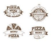 Pizza menu restauracyjne wektorowe etykietki, logowie, odznaki, emblematy ustawiający ilustracja wektor
