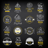 Pizza menu restaurant badges. Food design template. Pizza menu restaurant badges. Food design icons with hand-drawing elements. Graphic labels for restaurant Royalty Free Stock Photos