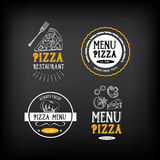 Pizza menu restaurant badges. Food design template.Vector with g Stock Photo