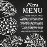 Pizza menu 1. Restaurant menu with pizza on the chalkboard Stock Photos
