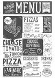 Pizza menu restaurant, food template. Royalty Free Stock Photo