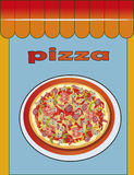 Pizza, menu , restaurant ,  illustration Stock Photography